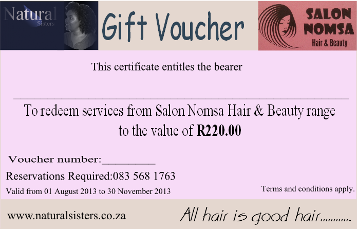 Gift Voucher Salon Nomsa