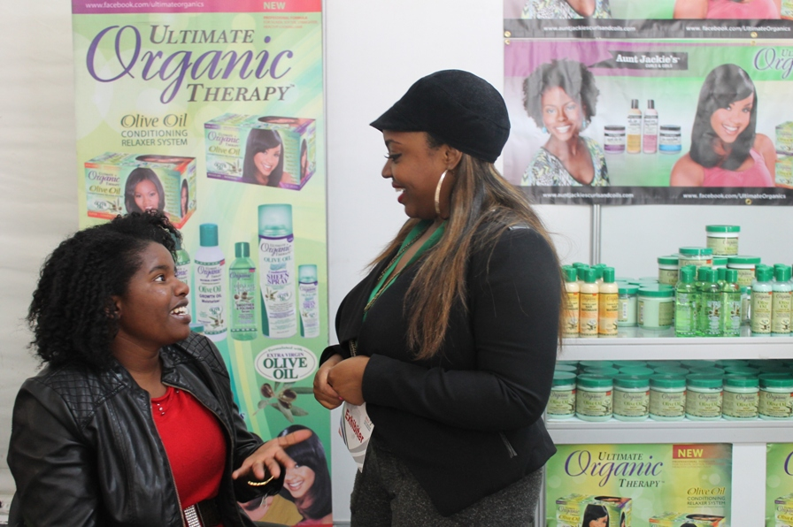 With Latoya who did a hair analysis on my hair and recommended some products from their range
