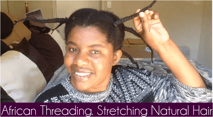 African threading on natural hair: Stretching natural hair