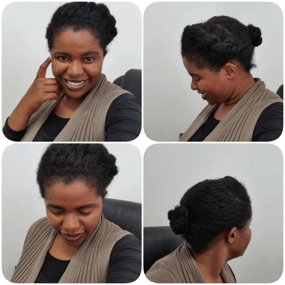 Flat Twist & Bun on Natural hair.