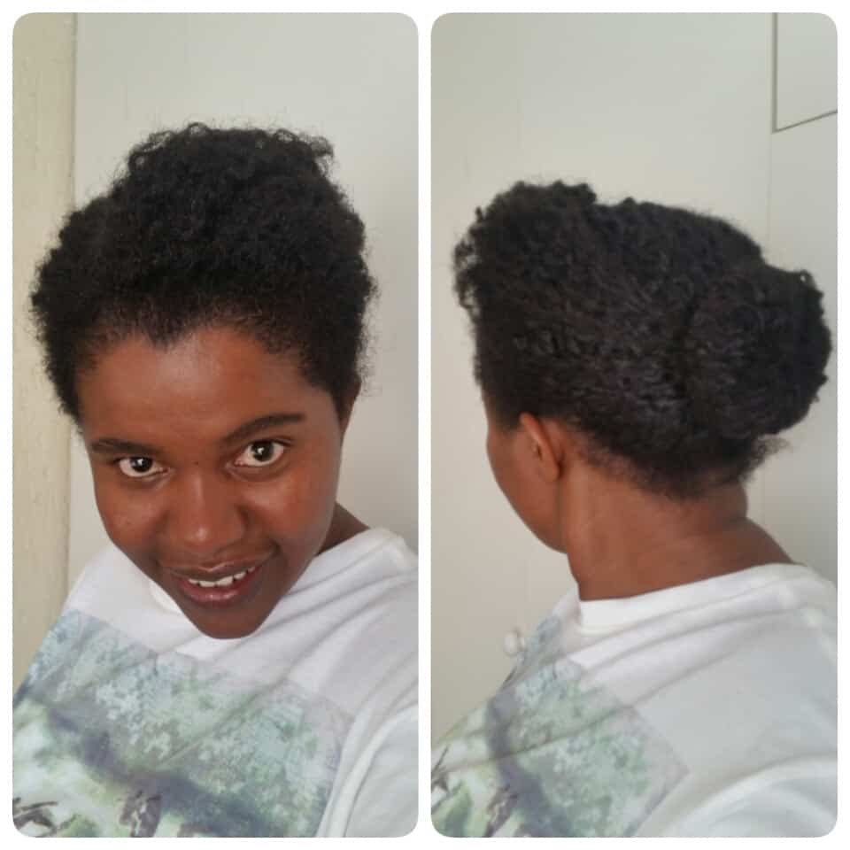 Natural hair: Twist out in a sock bun