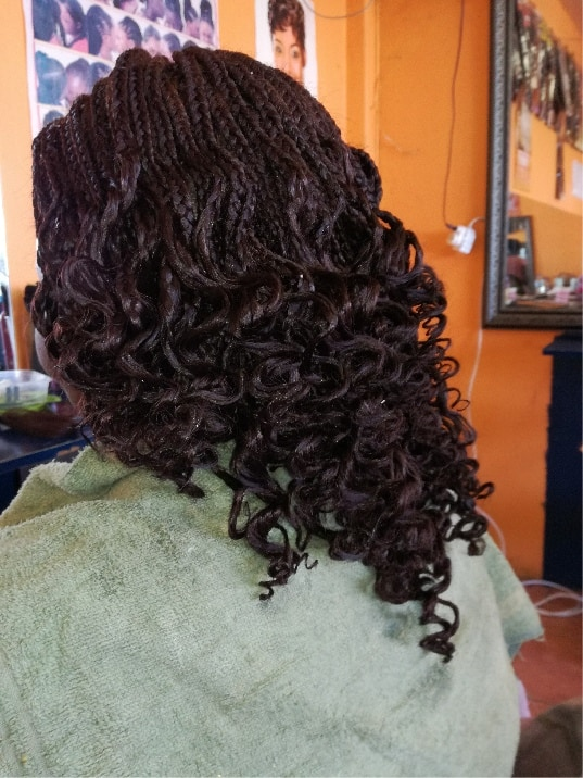 Curly box braids with xpression hair