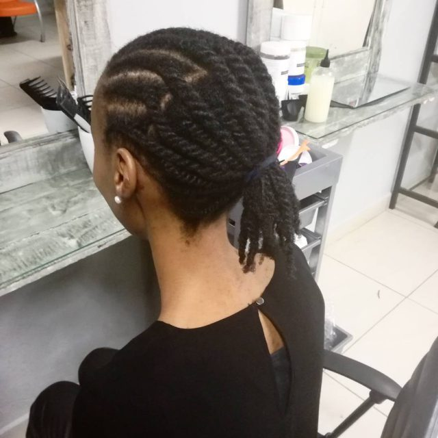 A combination of twists and cornrows on natural hair Nohellip