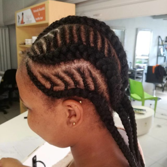 When simple cornrows become an intricate style Gentle braiding donehellip