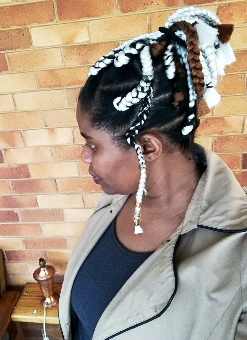 Platinum braids from Darling Hair, done at Nashe Hair Studio