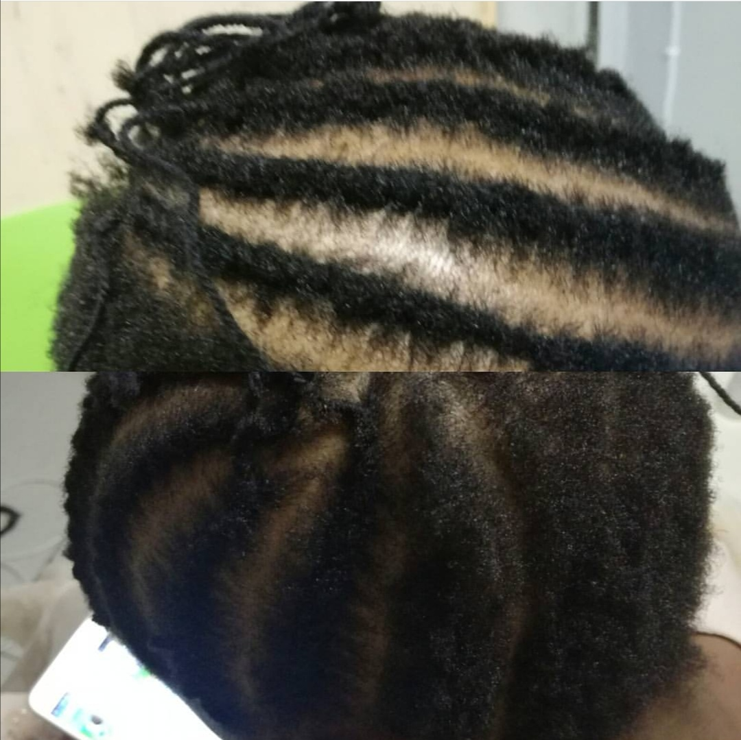 Need and thread flat twists on very short hair